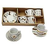 6 x Espressotassen mit Untertasse in trendigem Design Farbe Weiß