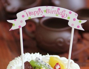 Topper Torte Cupcake Deko Happy Birthday Banner Flagge Tortenaufsatz Geburtstag Tortenstecker Muffin Fondant Dekoration CT21 ()