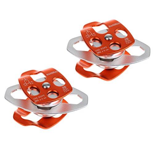 Magideal 2 pezzi 32kn doppia puleggia cuscinetti in alluminio per il salvataggio arrampicata (certificazione ce en )