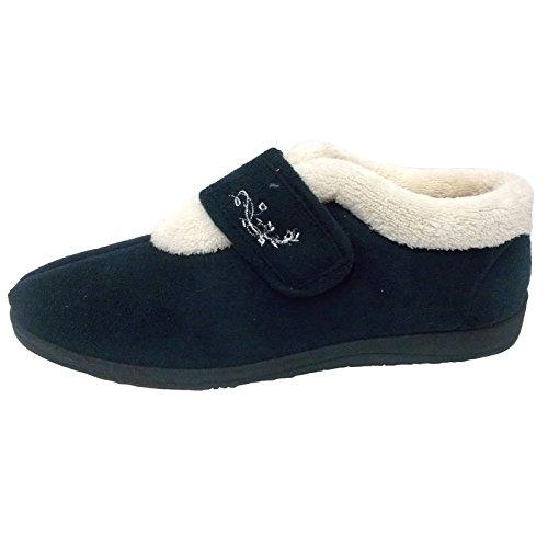 Donna Dunlop Deloris Calzata Larga Fodera In Pile Chiusura In Velcro Pantofola A Stivale Navy