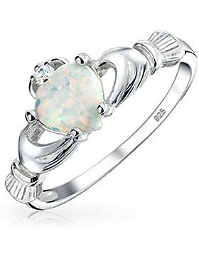 Bling Jewelry Keltischer Herzen Synthetische weiß Opal Claddagh Ring Sterling Silber