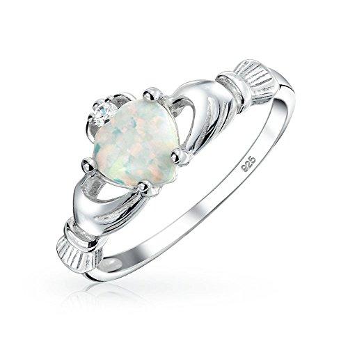 Bling Jewelry Celta Irlandés Amistad Parejas Creado Blanco Opal Claddagh  Anillo para Adolescente Mujer Octubre Piedra De Nacimiento