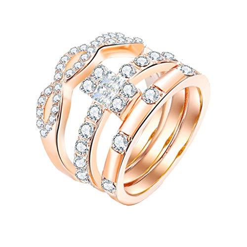 Floweworld 3 StüCke Mode Ring Damen Trend Geometric Square Diamant Verzierte Zirkon Damen Ring Schmuck ZubehöR -