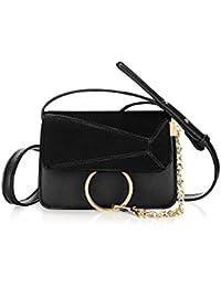 Unique Bargains Women's Paneled Adjustable Straps Flap Chain Loop Crossbody Bag - B07FL7LWW9