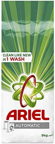 مسحوق تنظيف الغسيل والمطهر برائحة اصلية للغسالات من ارييل 9 كغ، عبوة من قطعة واحدة