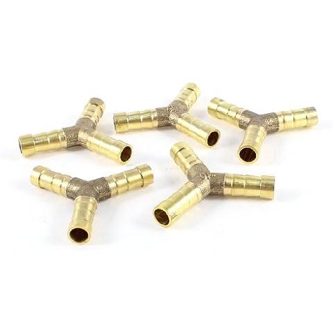 Sourcingmap - 5 pezzi adattatore in ottone e 3 vie forme di accoppiamento portagomma per tubo 8 millimetri