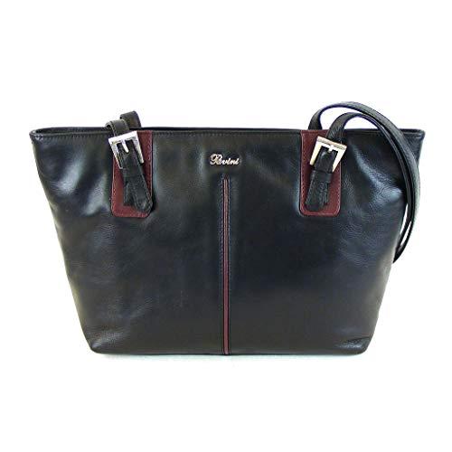 Pavini Damen Tasche Shopper Como Echt-Leder schwarz bordo 15079 Reißverschluss
