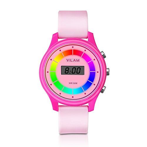 Rainbow Farbe Lichter Kinder Armbanduhr – XREXS 7 Farbe Blinkendes 30M Wasserdicht Kinder Elektronische Armbanduhr,Komfortable Armband...