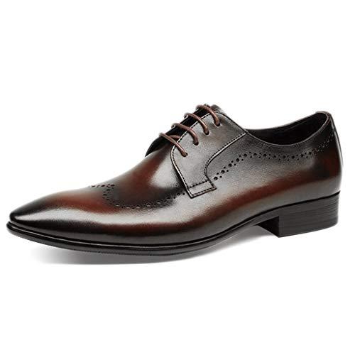 Brown Italienischen Leder Handgefertigt (SDKHIN Herren Brogues handgefertigte Hochzeit Vintage Spitzenkleid Business Krawatte lässig handgefertigte Schuhe,Brown-41)
