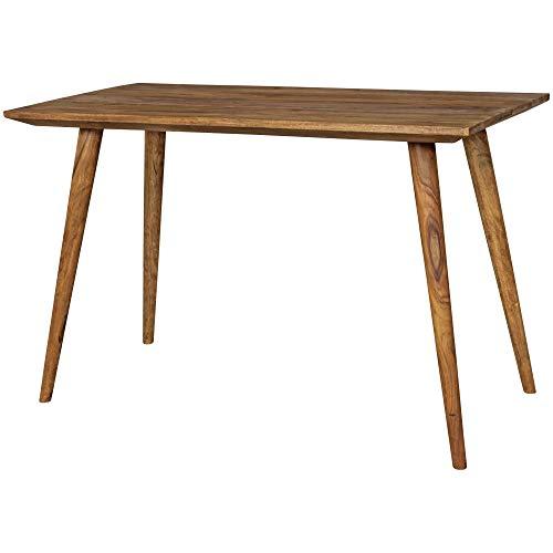 FineBuy Esszimmertisch 120 x 76 x 60 cm Sheesham rustikal Massiv-Holz | Design Landhaus Esstisch | Tisch für Esszimmer rechteckig | 4-6 Personen