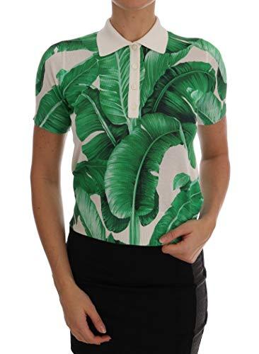 Dolce & Gabbana Polo-Shirt mit Bananenmuster, Seide - Grün - 68DE Small -