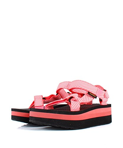 Teva Flatform Universal Candy Stripe Coral Sandals - Sandali a Righe Rosa Pink