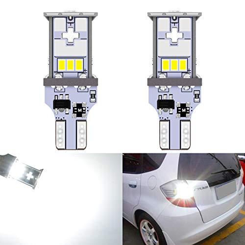 KaTur 2pcs Ampoule de stationnement à Del extrêmement Brillante 1000LM Blanc T15 921 912 T10 W15W 10-SMD CREE 3020 Feux de Remplacement de Voiture - Feu de recul inversé - Blanc Xenon 6000K