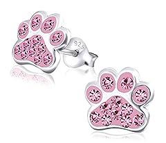 Idea Regalo - Laimons Kids Orecchini a pressione per bambini gioielli per bambini Zampa di cane Rosa Con brillantini Argento Sterling 925