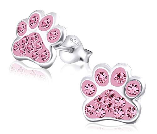 Laimons Mädchen Kids Kinder-Ohrstecker Ohrringe Kinderschmuck Hundepfote Pfote Pfötchen Tatzen mit Glitzer in Rosa 9mm aus Sterling Silber 925