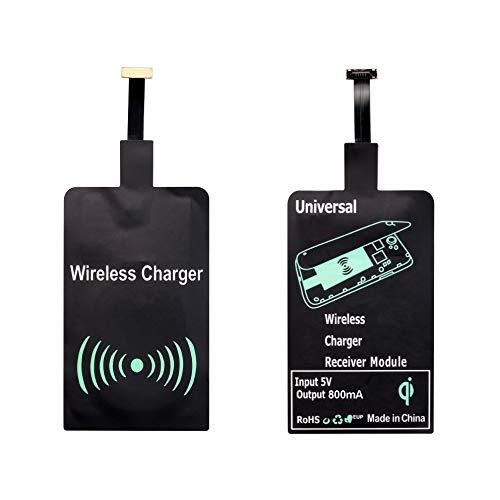 Qi Ladeempfänger mit USB-C Anschluss - Universal Type-C Receiver für Qi Ladestation Induktionsladen mit Typ-C Ladeanschluss induktiv Laden Samsung Huawei HTC Motorola Asus Sony Google LG - schwarz (Qi-receiver)