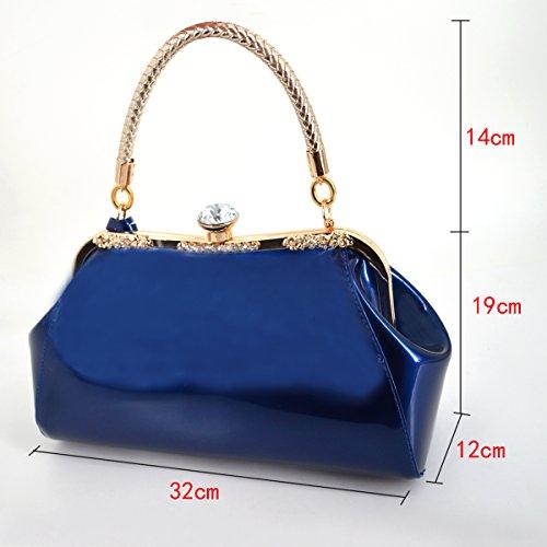 a8b46f1385c3b ... Milya Damen Mode-Lackleder Handtasche Schulter Hochzeit Braut  Abendtasche Clutch Blau Blau ...