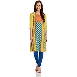 Rangriti Women's Straight Kurta (RMMBOHO CHI2900_Yellow_36)