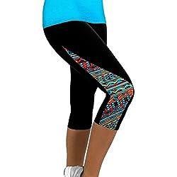 Leggings deportivos mujer cortos , ❤️ Amlaiworld Mallas Mujer Leggins Leggings de running Polainas de Fitness de Yoga Floral para Mujeres Pantalón 3/4 de señora Gym Slim recortada (B, M)