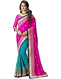 Indistar Georgette Saree (13918-IW-2-OBS_Pink_Free Size)