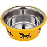 Naaz Pet Supplies Stainless Steel Inside Cutie Food Feeder Bowls for Dogs Cats and Pets (Yellow, Medium, 0.935Qt./0.85 L)