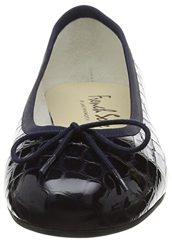 French Sole Henrietta Patent Croc, Closed Toe Ballet Flat femme Bleu (Navy)
