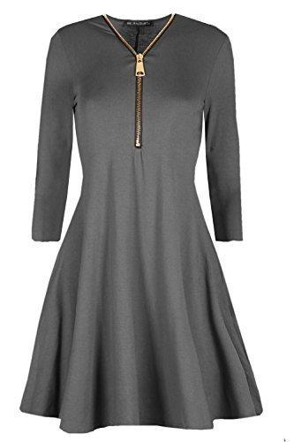 Damen Ausgestellt Franki Gelbgolden Reißverschluss Vorne Kleid Damen Eine Linie Swing Skaterkleid Dunkelgrau