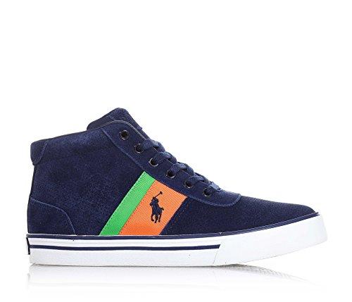 POLO RALPH LAUREN - Blauer Schnürschuh aus Wildleder, mit seitlichen farbigen Einsätzen, seitlich ein Logo und Gummisohle, Jungen-30