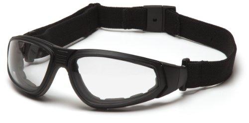 Pyramex Safety XSG GB4010ST Schutzbrille mit Bügel/arretierbarem Kopfband/durch STANAG 2920 geeignet für Militär und Polizei/farblose Gläser antibeschlag