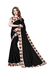 Bhuwal Fashion Womans CHANDERI silk KALAMKARI saree with Blouse (BLUE) (BLACK)