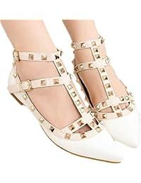 Xianshu remache puntiagudo zapatos planos Roma charol tobillo correa de cuero