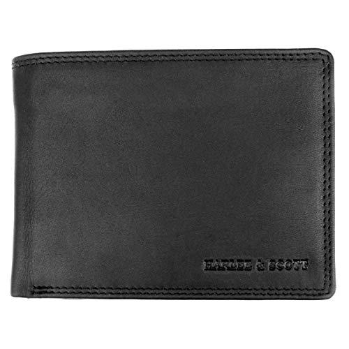 Geldbörse Herren Echt-Leder-Geldbeutel Brieftasche Portmonee RFID-Schutz Münzbörse Business Edel HS11 (Querformat, Schwarz)