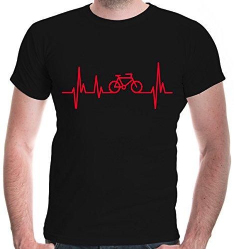 buXsbaum® Herren Unisex Kurzarm T-Shirt bedruckt Frequenz Cycle | Fahrrad bike Drahtesel | M black-red Schwarz