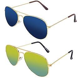 Silver Kartz Classic Aviator Combo Pack Boys Sunglasses (AV036|40|Green,Blue)