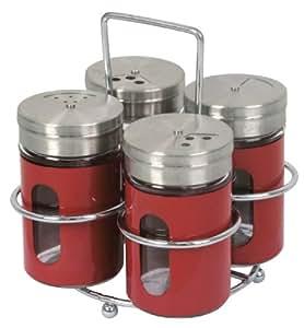 Equinox 505480 Lot 3 Pots à Épices en Verre Noir et Rouge Support Chrome