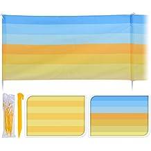 Großer Windschutz Strandsichtschutz 480 x 82 cm Sichtschutz gelb blau gestreift