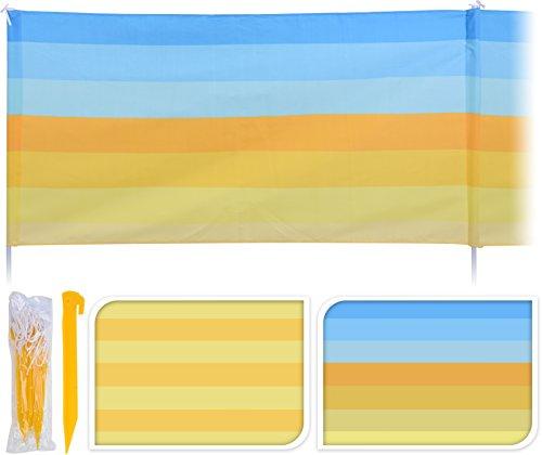 Großer Windschutz Strandsichtschutz 480 x 82 cm Sichtschutz gelb blau gestreift (Gelb gestreift)