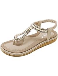 uBeauty Römische Sandalen Damen Bequeme Atmungsaktiv Zehentrenner Leder Flach Rutschfest Sexy und Stilvoll Schuhe Blau 36 EU