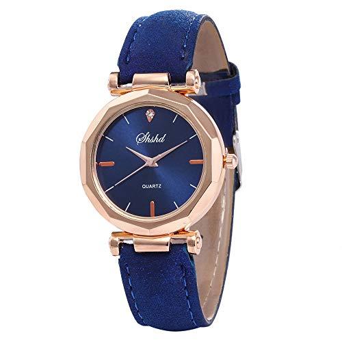 Uhren,Gaddrt Art- und Weisefrauen-Lederne beiläufige Uhr-analoge Quarz-Kristallarmbanduhr (Blau)