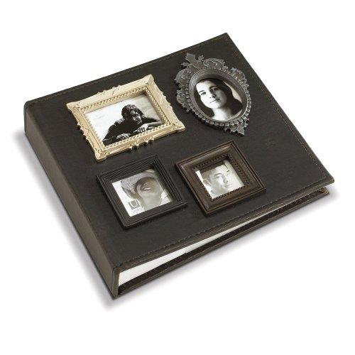 Umbra 308002-135 Vintage Lederimitat Fotoalbum mit 4 mini Fotorahmen für 160 Fotos 10 x 15 cm und 24 x 22 cm braun - Umbra-foto-album