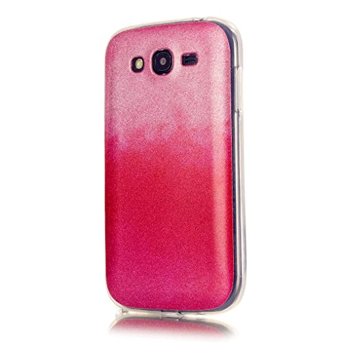 KSHOP Case Cover Stampa Custodia Protettiva per Samsung Galaxy i9060 Shell Carcasa Trasparente Ultra Flessibile Colorato Ammortizzante Shock-Absorption Conchiglia - Rosa Rosso