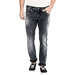 Mufti Mens Black Low Rise Skinny Fit Jeans (34)