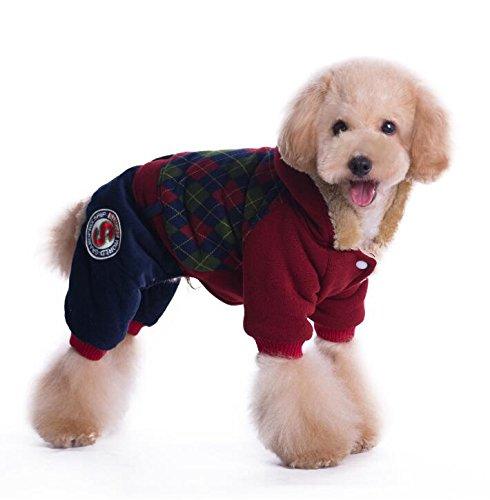 Schönes Design Haustier-Kostüm-britischer College-Art-Winter-Kleidungs-Katze Hundekleidung Rot ()