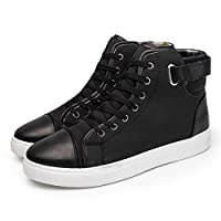 Bggie Fashion Men Casual High Top Sneakers Shoes Oxfords Leather Shoes Lace-up Autumn Winter
