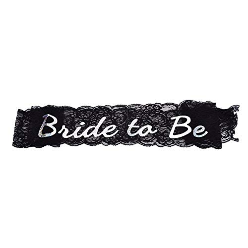 Bride - 1 Pcs Bride To Be Black Lace Sash Hen Party Satin Hens Night Out Decoration Wholesale - Sunglasses Socket Decor Honor Advice Women Magnet Iron Black Jewelry Cups Robe Button Keepsak (Ideen Halloween Yard)