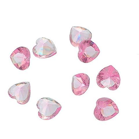 HOUSWEETY 50 Perles Cristal Charm en Resine Forme de Coeur Pierre de Naissance pour Creation de Bijou
