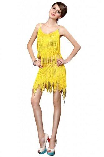 Reizvoll Damen Blusen und Rock Makramee Latin Tanzenkleid Zwei Stücke Gelb