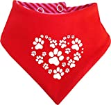 KLEINER FRATZ Gestreiftes Hunde Wende- Halstuch (Fb: Rot-Fuchsia/Rot) (Gr.3 - HU 36-42 cm) Herz aus Pfoten