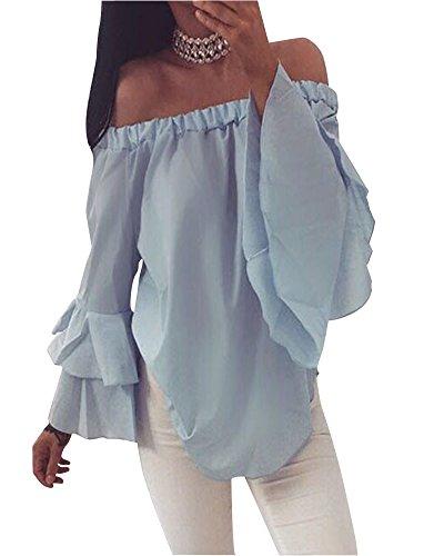 Camicetta Blusa Manica Lunga Casual Pizzo Elegante Cotone Off Shoulder T-shirt Maliga Donna Blu