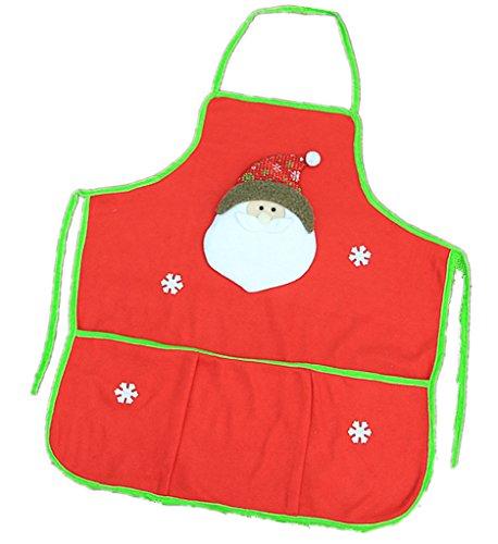 Kinteshun Weihnachten Schürze Erwachsene Flanell Latzschürze Weihnachts Urlaub Dekoration Kostüm Supplies (1Stück, Santa Muster) Weihnachtsmann (Flanell Santa Kostüm)
